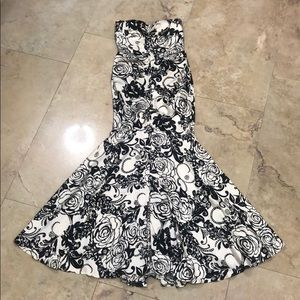 Strapless Black and Ivory Printed Dress